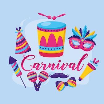 Penas de maracas de tambor de carnaval