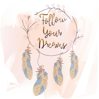 Penas e apanhador de sonhos em fundo rosa