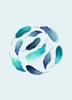 Penas flutuantes azuis