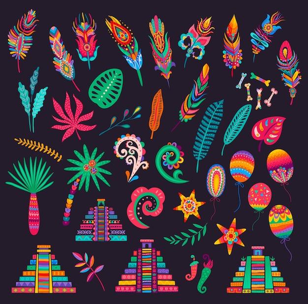 Penas mexicanas, ossos e palmas das mãos, pirâmides e flores, pimentas, folhas