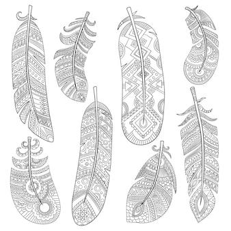 Penas tribais indianas. moda pássaro asteca padrão americano vintage penas vector monocromático padrão