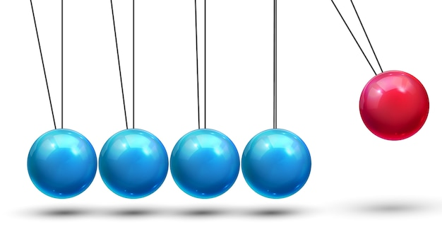 Pêndulo. pêndulo clássico com bolas metall. movimento de física. liderança nos negócios