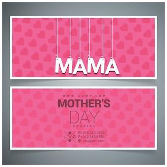 Pendurado banners mama tipografia