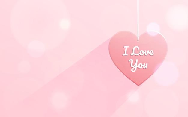 Pendurado em forma de coração com a palavra eu te amo
