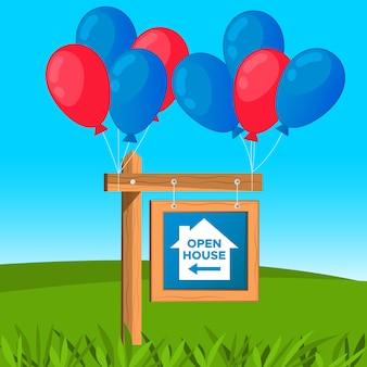 Pendurado sinal de casa aberta com balões
