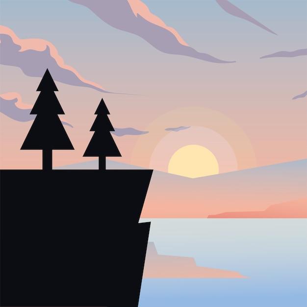 Penhasco com design de pinheiros, paisagem natural e tema ao ar livre