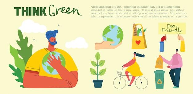 Pensa verde. pessoas cuidando da colagem do planeta. zero desperdício, pense verde, salve o planeta, nossa casa escrita à mão.