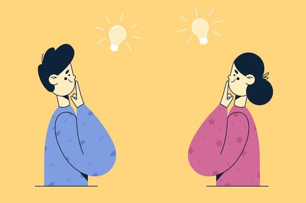 Pensamento criativo, inovação, conceito de novas ideias