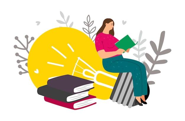 Pensamento criativo. mulher lê livros e tem novas ideias. conceito de aprendizagem de vetor