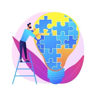 Pensamento criativo. sugestão original, decisão não padronizada, resolução de problemas. homem com personagem de desenho animado de lâmpada grande. desenvolvimento inovador