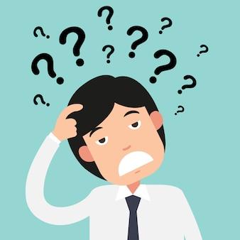 Pensamento de negócios com pontos de interrogação