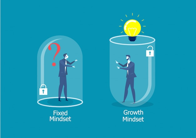 Pensamento diferente de dois empresários entre o conceito de sucesso fixed mindset vs growth mindset