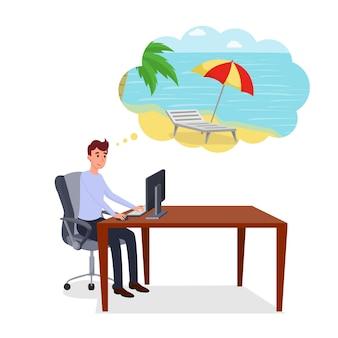 Pensando em férias em estilo de estilo simples.