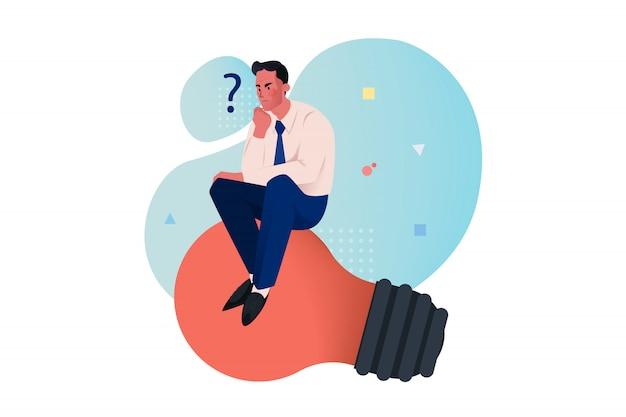Pensando, idéia, problema, conceito de negócios de pesquisa