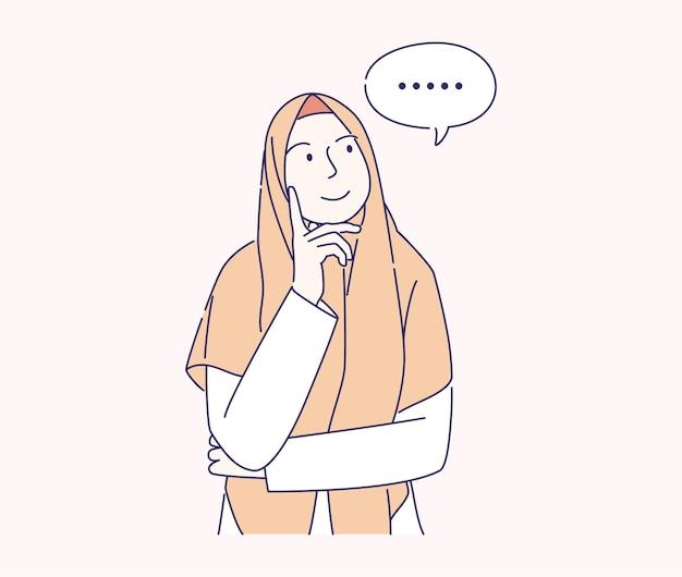 Pensando jovem muçulmana com ilustração de mão desenhada de texto de bolha.
