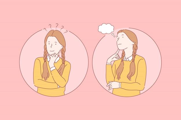 Pensando, sonho conjunto conceito