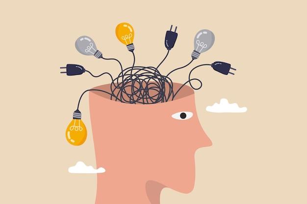 Pensar demais, ansiedade causada por pensar muito, perdido na decisão do caos, processo desordenado ou conceito de pensamento confuso, cabeça humana com linha de cabo do caos confuso de plugue elétrico e ideias de lâmpada.