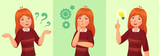 Pensar menina adolescente, confuso jovem adolescente feminino, aluna pensativa e pergunta dos desenhos animados