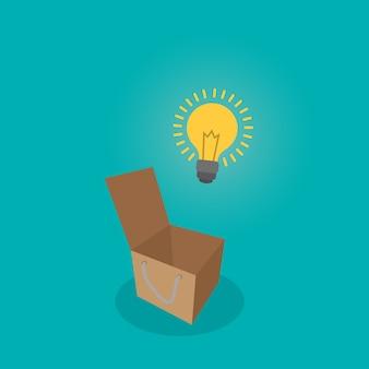 Pense a ampola fora da caixa pense o conceito da ideia.