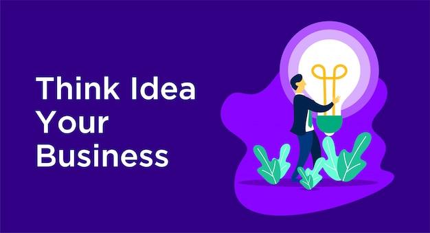 Pense a ilustração de negócios de ideia