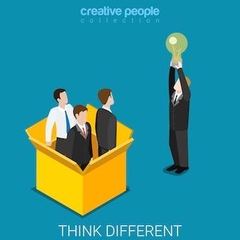 Pense diferente fora da caixa isométrica plana