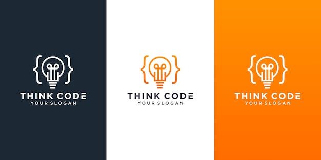 Pense em design de logotipo inteligente em inovação de lâmpada de código