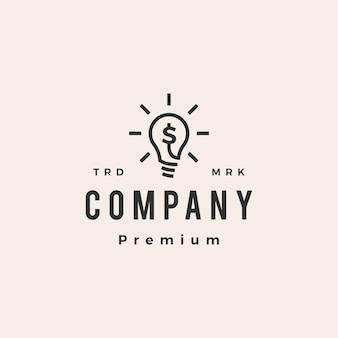 Pense em dinheiro, lâmpada lâmpada, logotipo vintage inteligente Vetor Premium