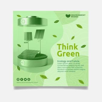 Pense em modelo de folheto quadrado verde