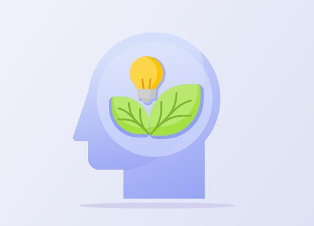 Pense em um conceito verde de lâmpada na cabeça