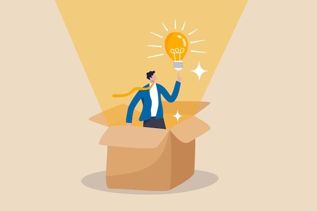 Pense fora da caixa, criatividade para criar ideias de negócios diferentes ou conceito de motivação e inovação