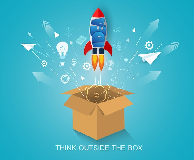 Pense fora da caixa. lançamento do ônibus espacial para o céu. arranque o conceito de negócio