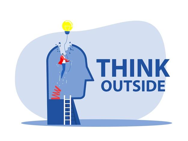 Pense fora, pessoa do empresário original subindo alto com lâmpada, metáfora de inovação, energia, brainstorm e inspiração. ilustração estilizada criativa em vetor