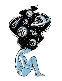 Pense na ilustração do universo Vetor Premium