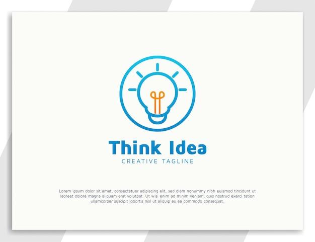 Pense no conceito de logotipo da ideia com lâmpada