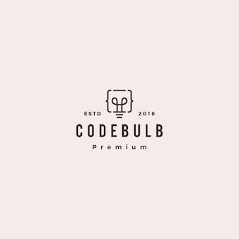 Pense o ícone de vetor de logotipo inteligente de inovação de bulbo de código