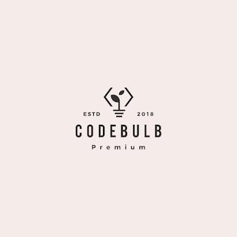 Pense o ícone de vetor de logotipo inteligente de inovação de folha de bulbo de código