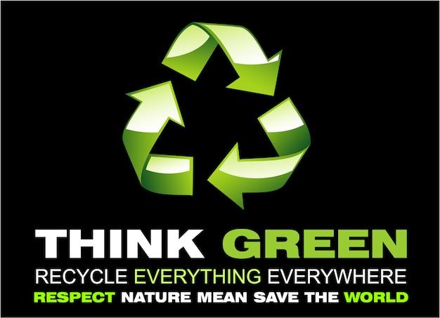 Pense verde e reciclar flayer