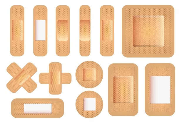 Pensos médicos de diferentes formas bandagens adesivas com textura realista para cuidados de saúde
