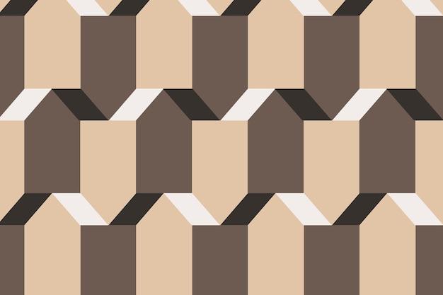 Pentágono 3d padrão geométrico vetorial fundo marrom em estilo simples