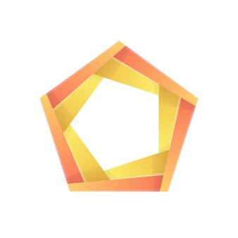 Pentágono colorido abstrato ícone