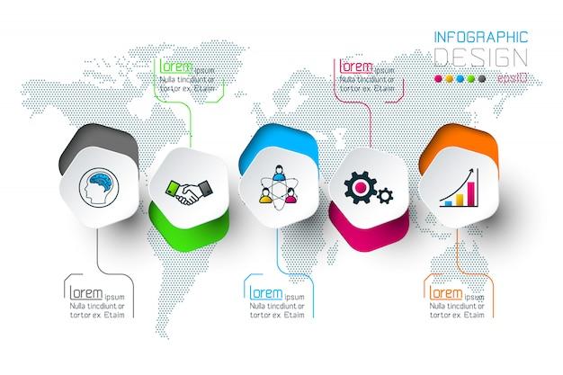 Pentágonos rótulo infográfico com 5 etapas. Vetor Premium