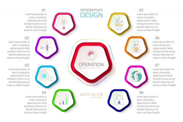 Pentagons rótulo infográfico com 9 etapas. Vetor Premium