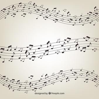Pentagrama com fundo de notas musicais