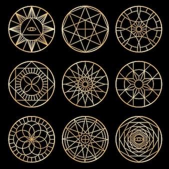 Pentagramas geométricos esotéricos. símbolos místicos sagrados espirituais