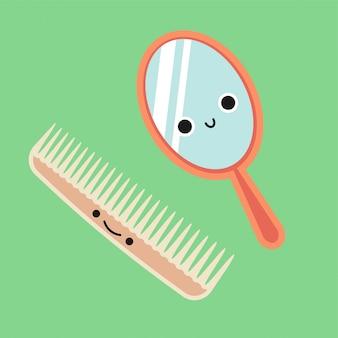 Pente bonito sorridente e espelho