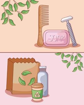 Pente de cabelo de madeira com conjunto ecológico