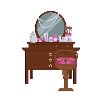 Penteadeira com acessórios de mulher e ilustração vetorial de cadeira