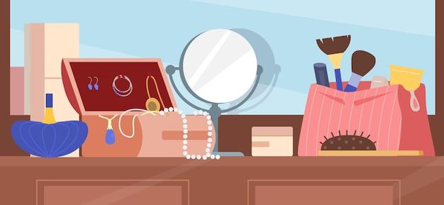 Penteadeira com bolsa cosmética, espelho, joias, pincéis de maquiagem, ilustração plana de perfume. acessórios de beleza feminina.