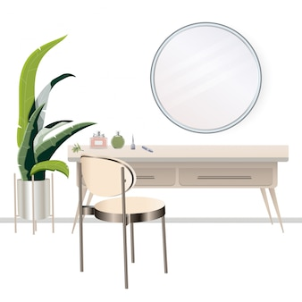 Penteadeira com espelho de maquilhagem na parede. boudoir feminino para maquiagem. mesa de maquiagem.