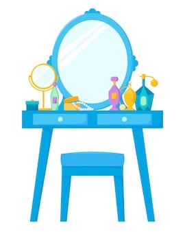 Penteadeira com espelho e boudoir de cadeira com frascos de perfume de cosméticos e porta-joias